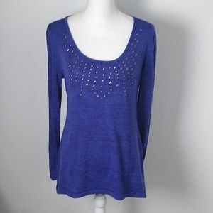 New Directions Long Sleeve Embellished Tunic